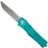 Microtech Turquoise Combat Troodon OTF Auto Knife, Stonewash Blade
