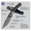 Benchmade Gold Class Crooked River Folder Knife, CPM-20CV Blade SPECS VIEW
