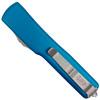 Microtech Blue UTX-70 OTF Auto Knife, Satin Blade REAR VIEW