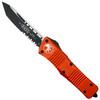 Microtech Orange Combat Troodon Tanto OTF Auto Knife, Black Combo Blade