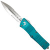 Microtech Turquoise Combat Troodon Dagger OTF Auto Knife, Satin Combo Blade