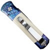 Pro-Tech Custom Blues Tuxedo Godson Auto Knife, Ivory Micarta, Damascus Blade REAR VIEW