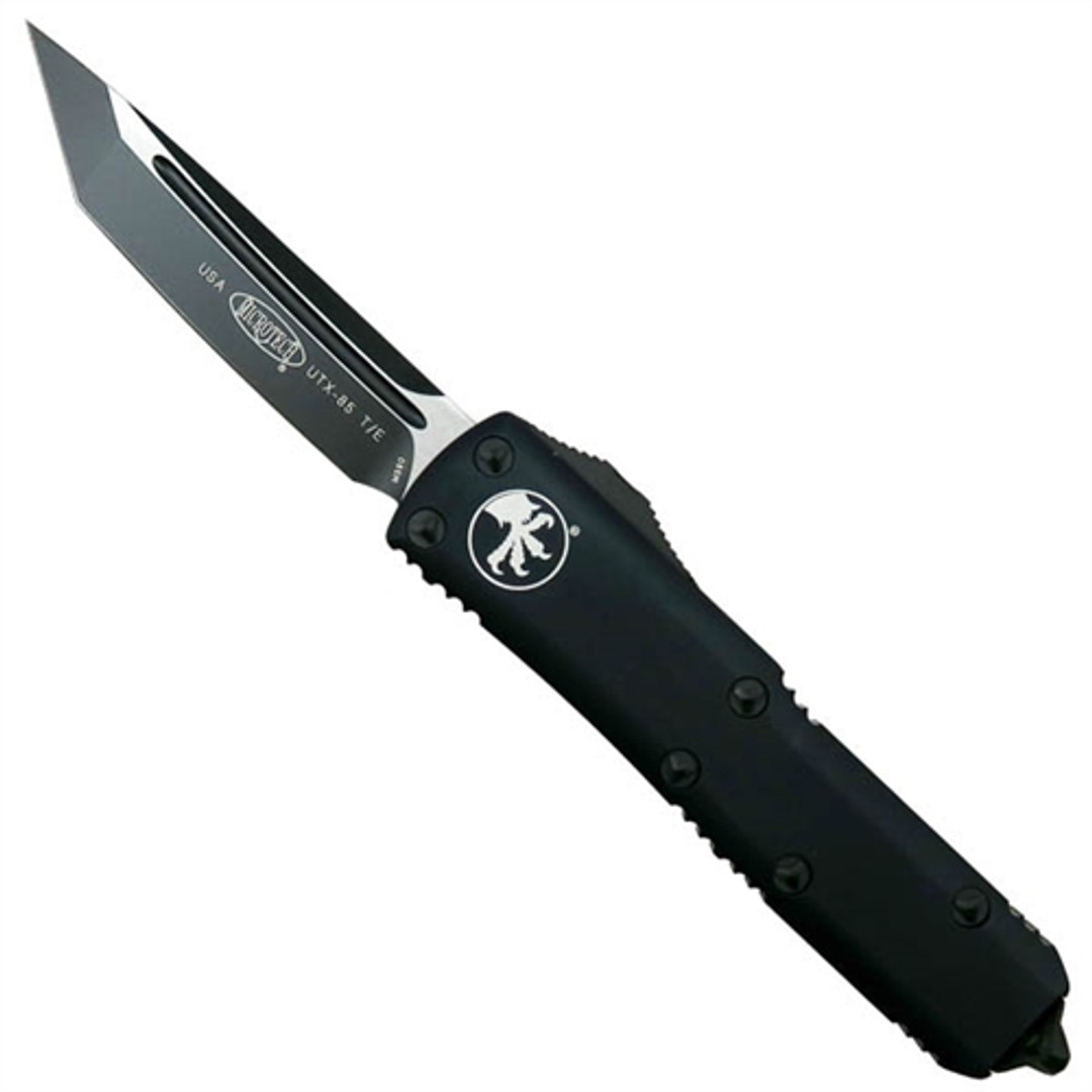 Microtech 233-1T Tactical Contoured UTX-85 T/E OTF Auto Knife, Black Blade