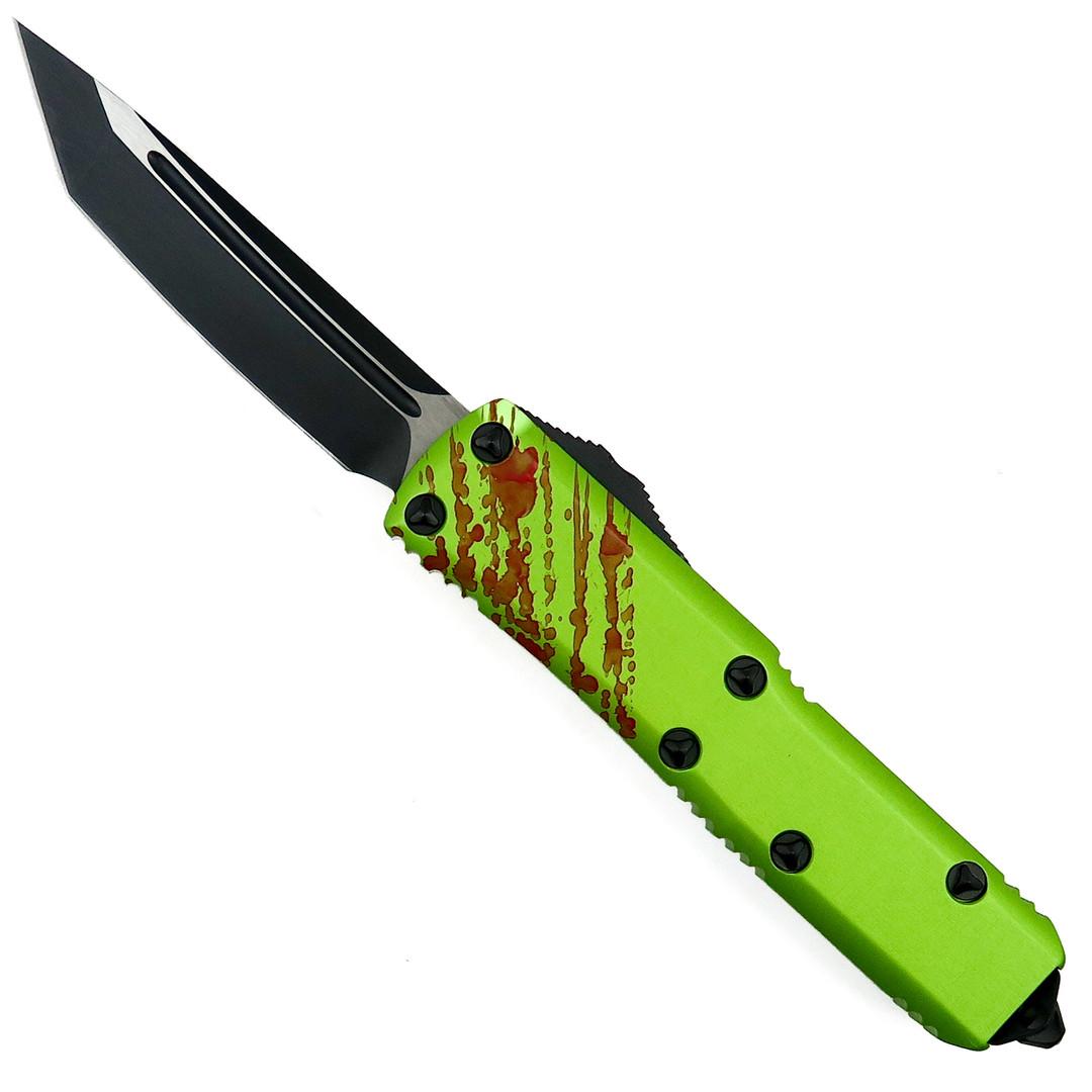 Microtech Zombie Tech UTX-85 OTF Auto Knife, Tanto Black Blade