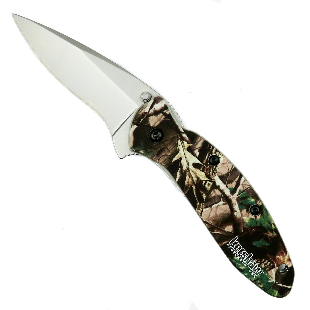Kershaw Scallion Assist Knife, Camo Handle, Plain Blade, KS1620C