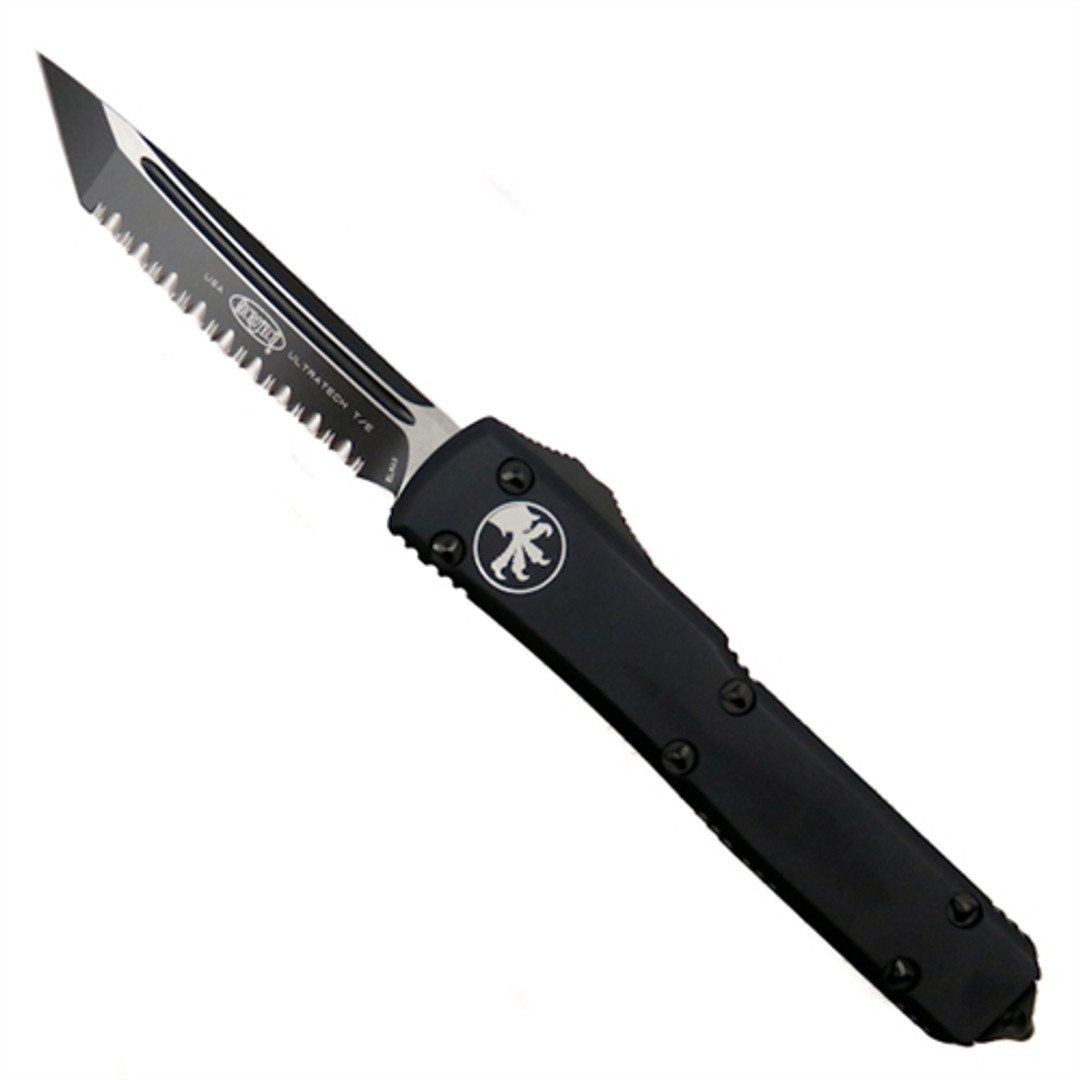 Microtech 123-3TCC Tactical Contoured Ultratech T/E OTF Auto Knife, Full Serrated Black Blade