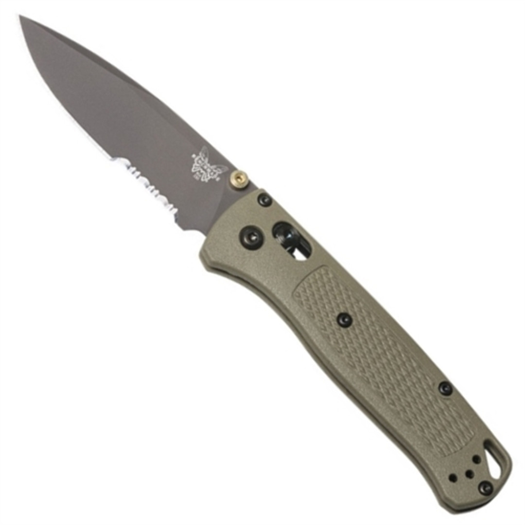 Benchmade 535SGRY-1 Ranger Green Bugout Folder Knife, CPM-S30V Smoked Grey Combo Blade