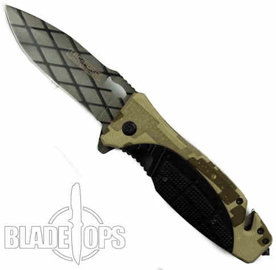 Agitator Desert Camo Spring Assist Knife, Plain Blade