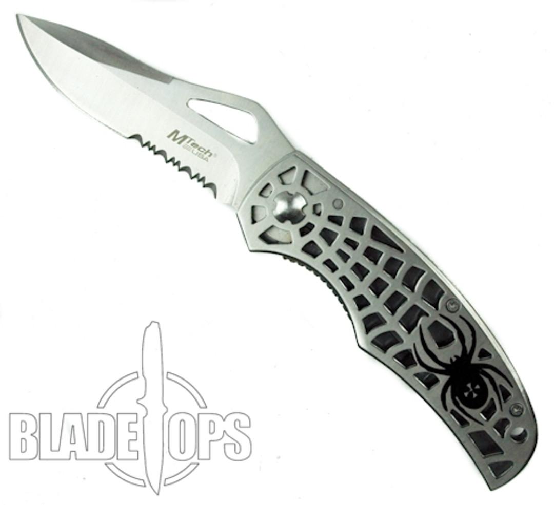 MTech Spider Framelock Knife, Drop Point Combo Blade