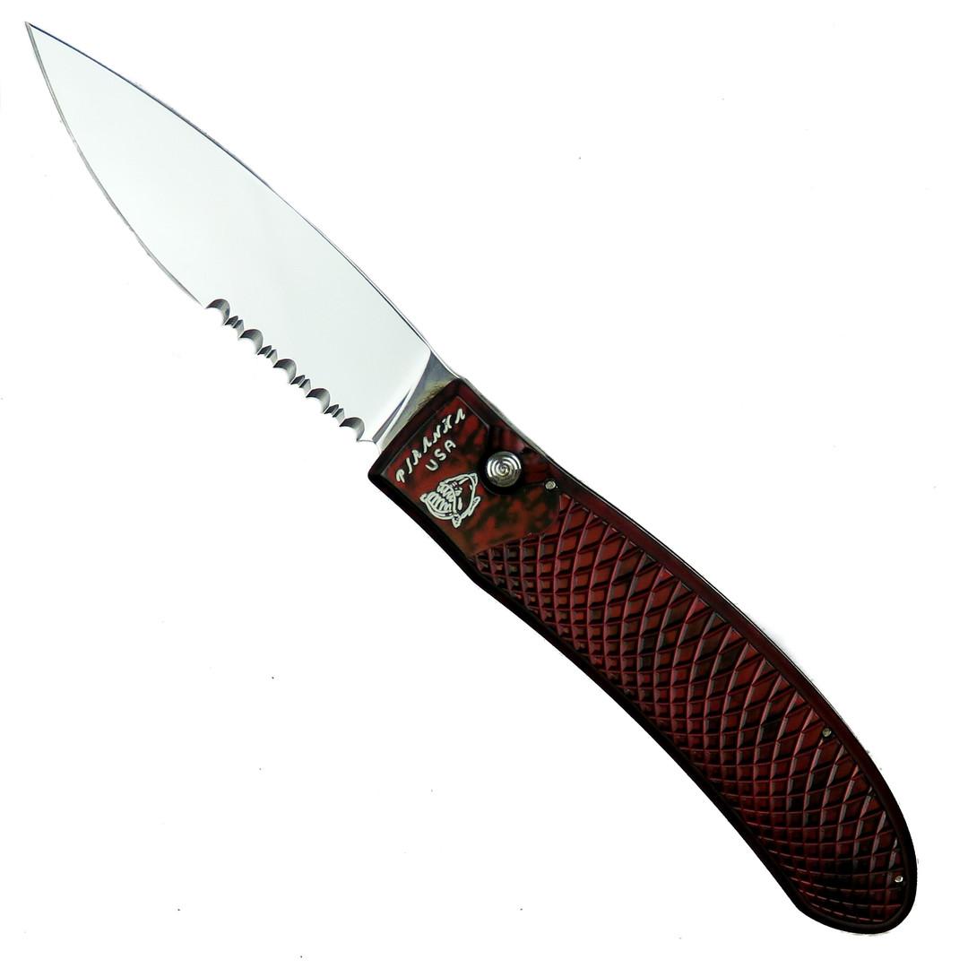 Piranha Red Toxin Auto Knife, 154CM Mirror Combo Blade