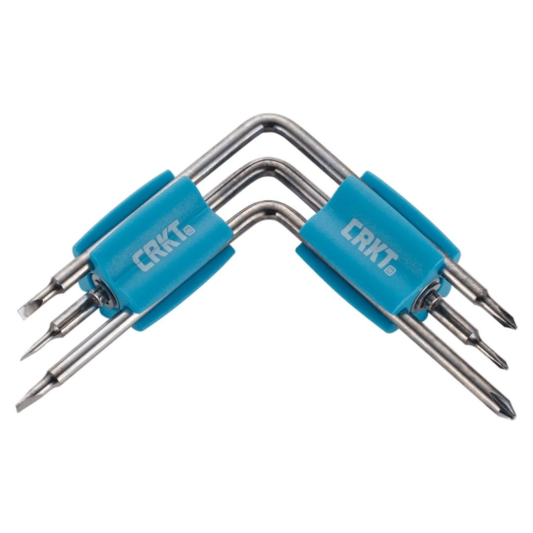 CRKT Twist & Fix Eyeglass/Screwdriver Tool, Blue Handles