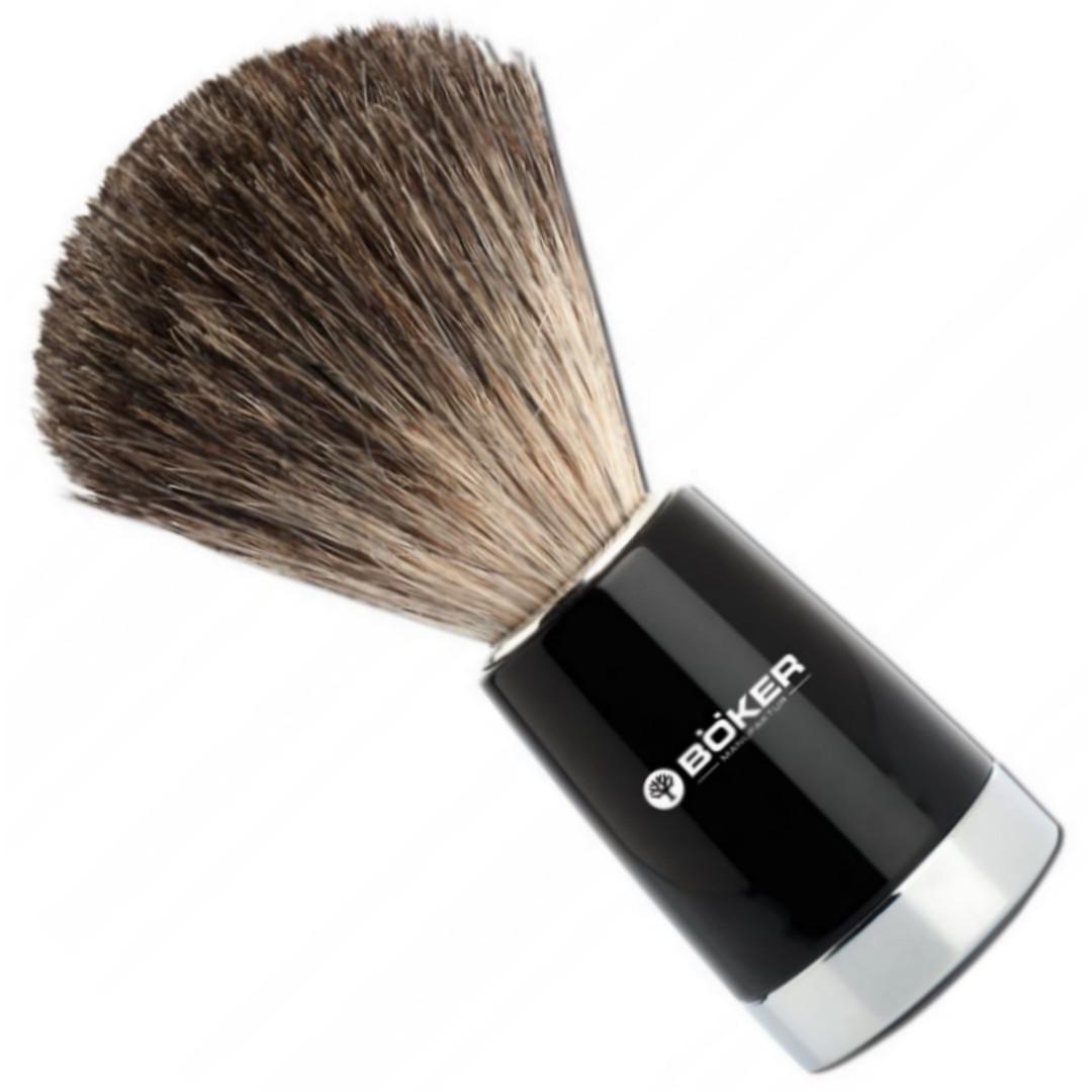 Boker Classic Badger Hair Shaving Brush, Black/Silver Finish FRONT VIEW