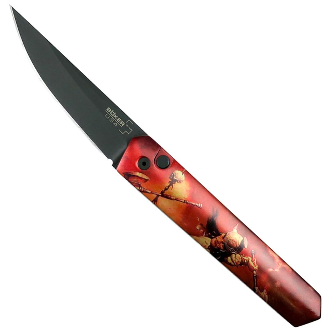 Boker Red Frazetta Badaxe Kwaiken Auto Knife, Black Blade, Open