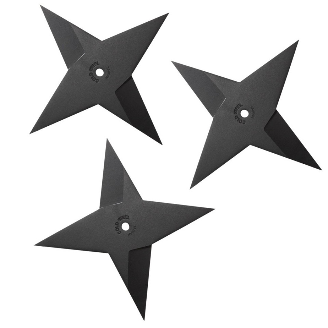 Cold Steel Light Sure Strike Throwing Stars, Black Finish FRONT VIEW