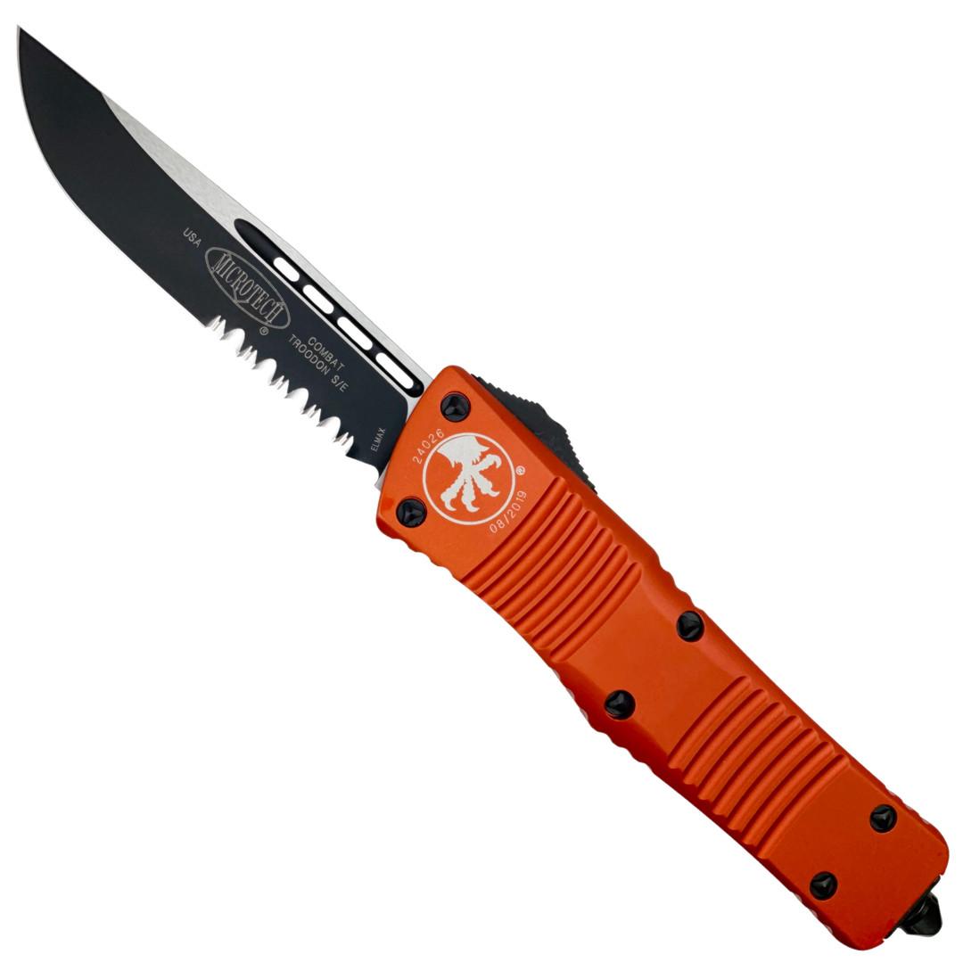 Microtech Orange Combat Troodon OTF Auto Knife, Black Combo Blade