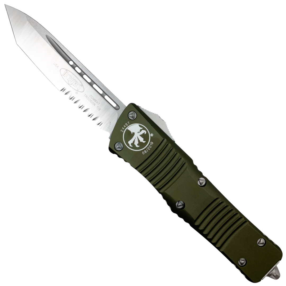 Microtech OD Green Combat Troodon Tanto OTF Auto Knife, Satin Combo Blade