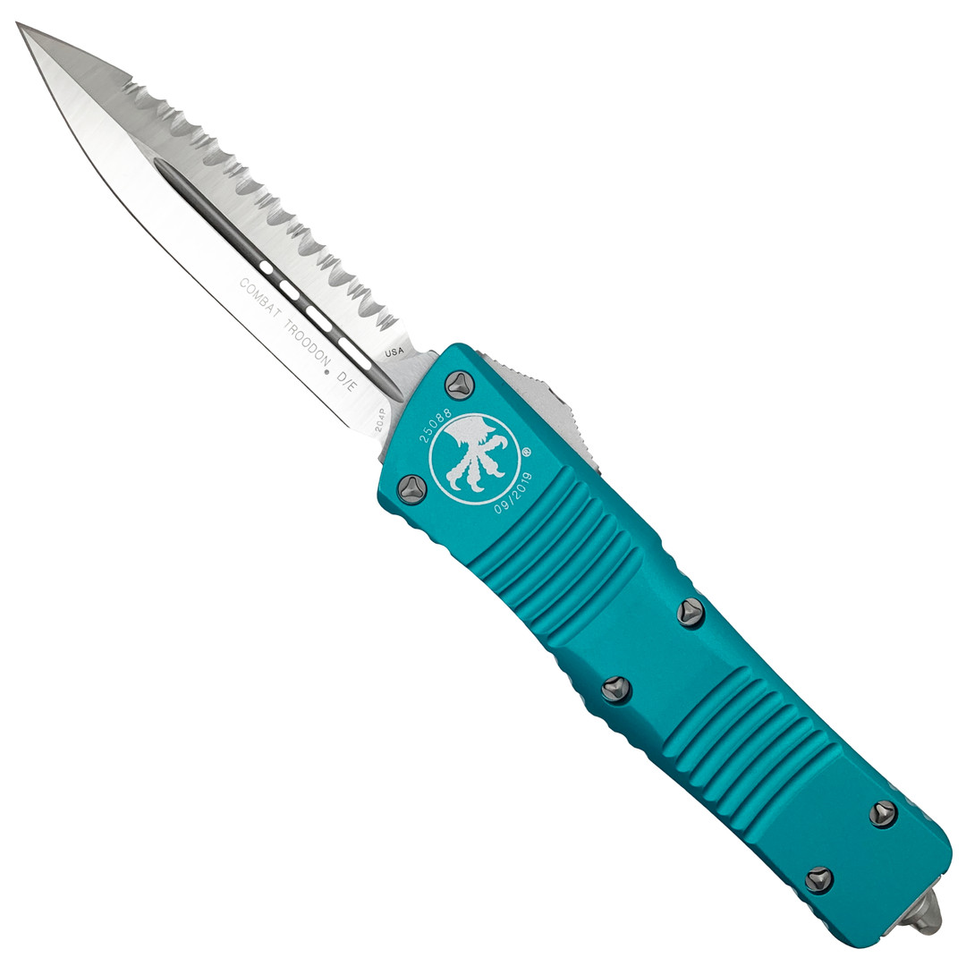 Microtech Turquoise Combat Troodon Dagger OTF Auto Knife, Satin Serrated Blade