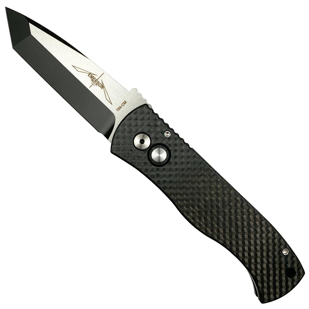 Pro-Tech Emerson CQC-7 Tanto Carbon Fiber Auto Knife, Black/Satin Blade