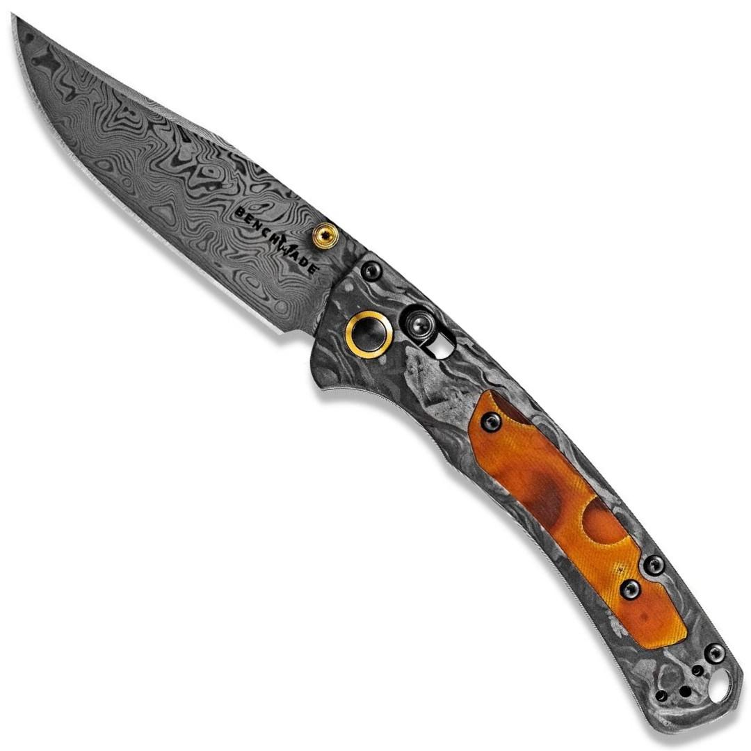 Benchmade Gold Class Mini Crooked River Folder Knife, Damasteel Blade