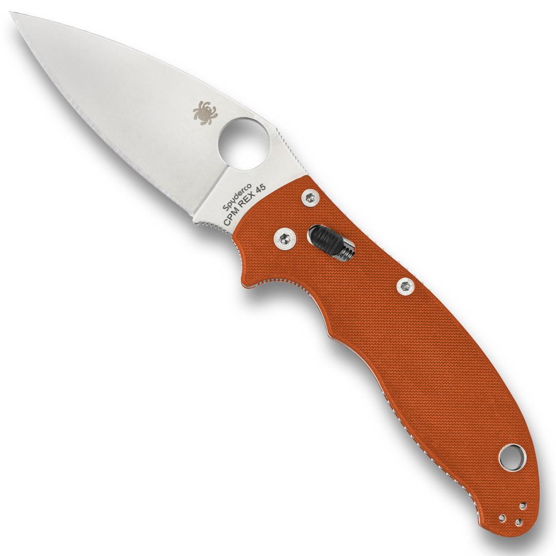 Spyderco Sprint Run Burnt Orange Manix 2 Folder Knife, CPM-REX 45 Blade