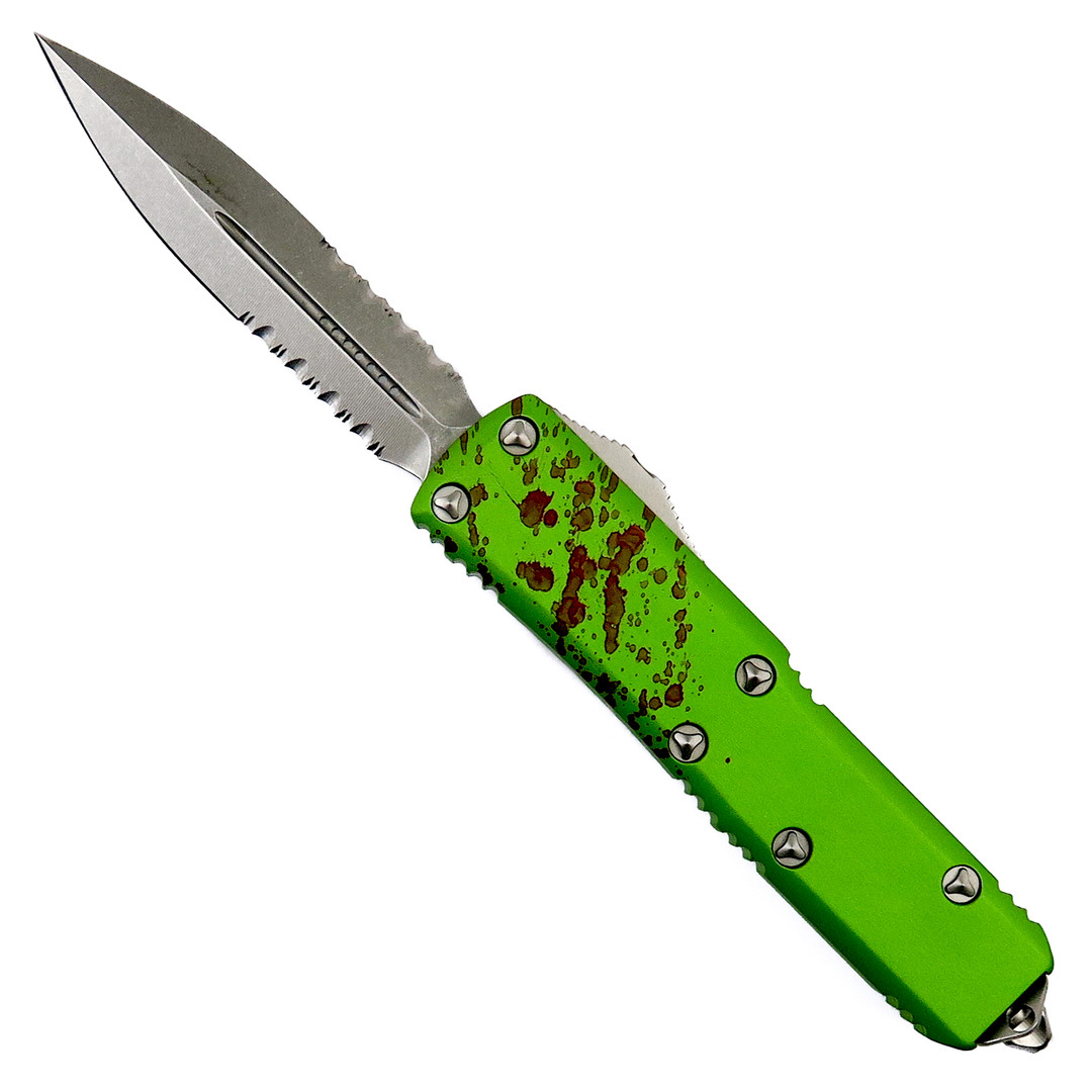 Microtech Zombie UTX-85 Dagger OTF Auto Knife, Stonewash Combo Blade