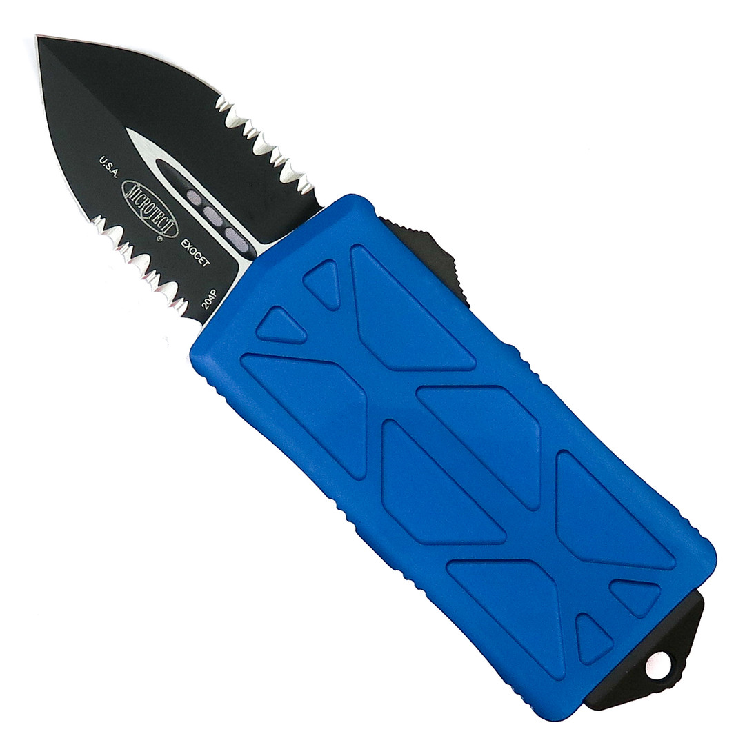 Microtech Blue Exocet OTF Auto Knife, Black Combo Blade