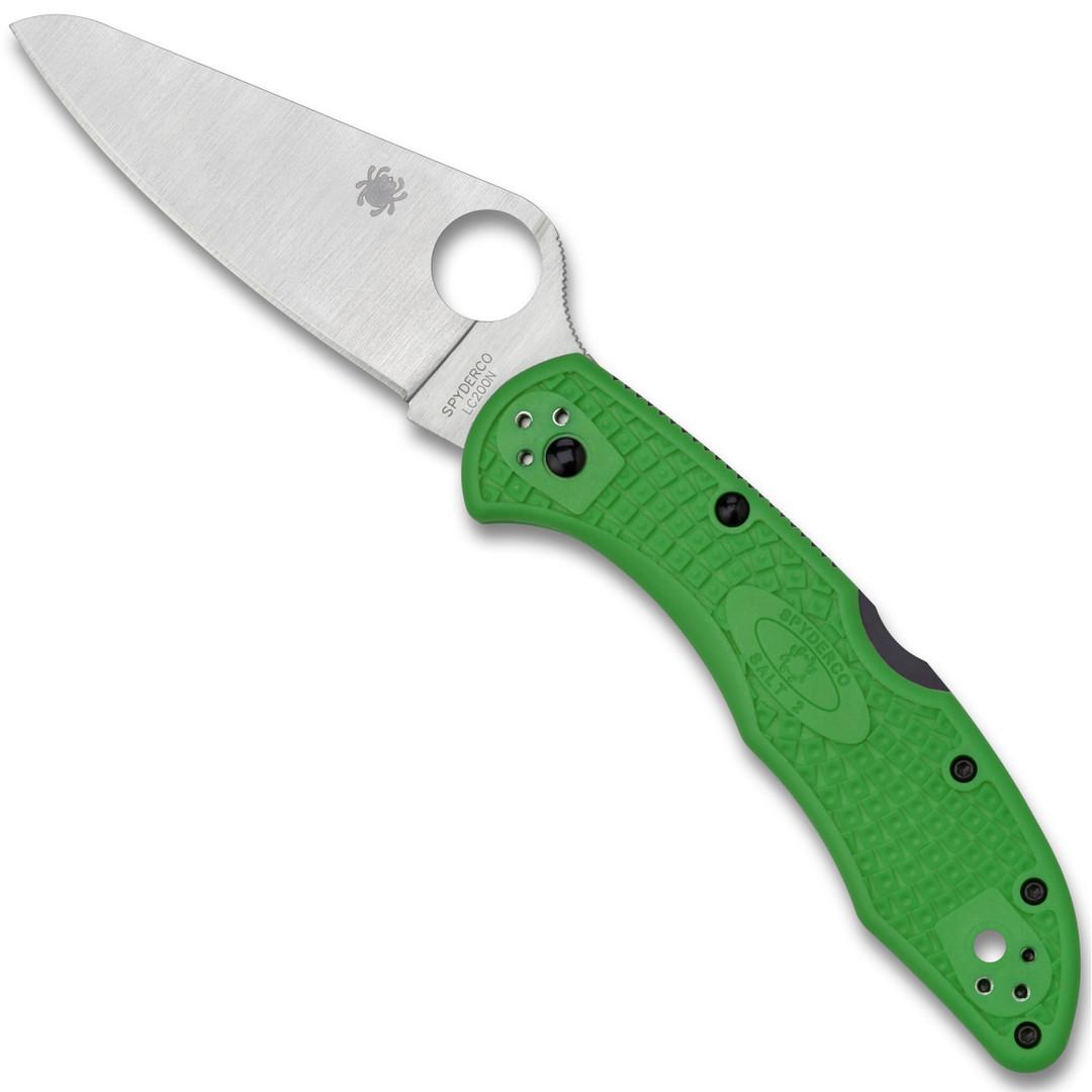 Spyderco Green Salt 2 Folder Knife, LC200 Sheepsfoot Blade
