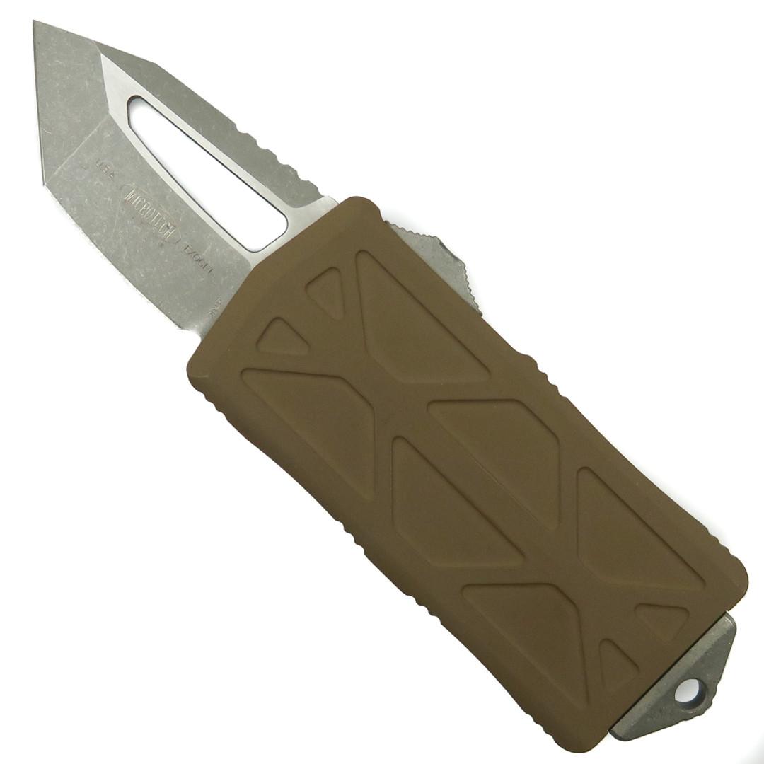 Microtech Tan Exocet OTF Auto Knife, Tanto Apocalyptic Stonewash Blade