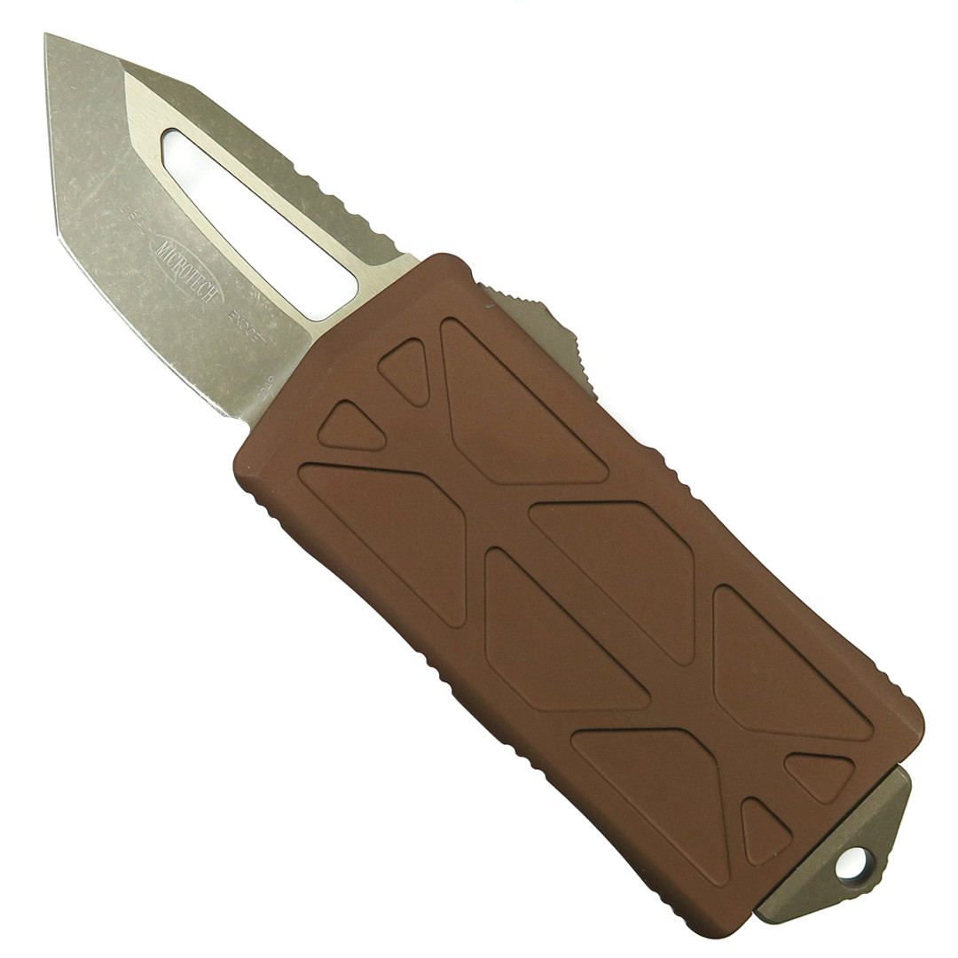 Microtech Tan Exocet OTF Knife, Bronzed Apocalyptic Tanto Blade