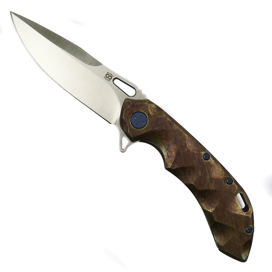 Olamic Cutlery Entropic Antique Wavform Wayfarer 247 Knife, Satin Drop Point Blade