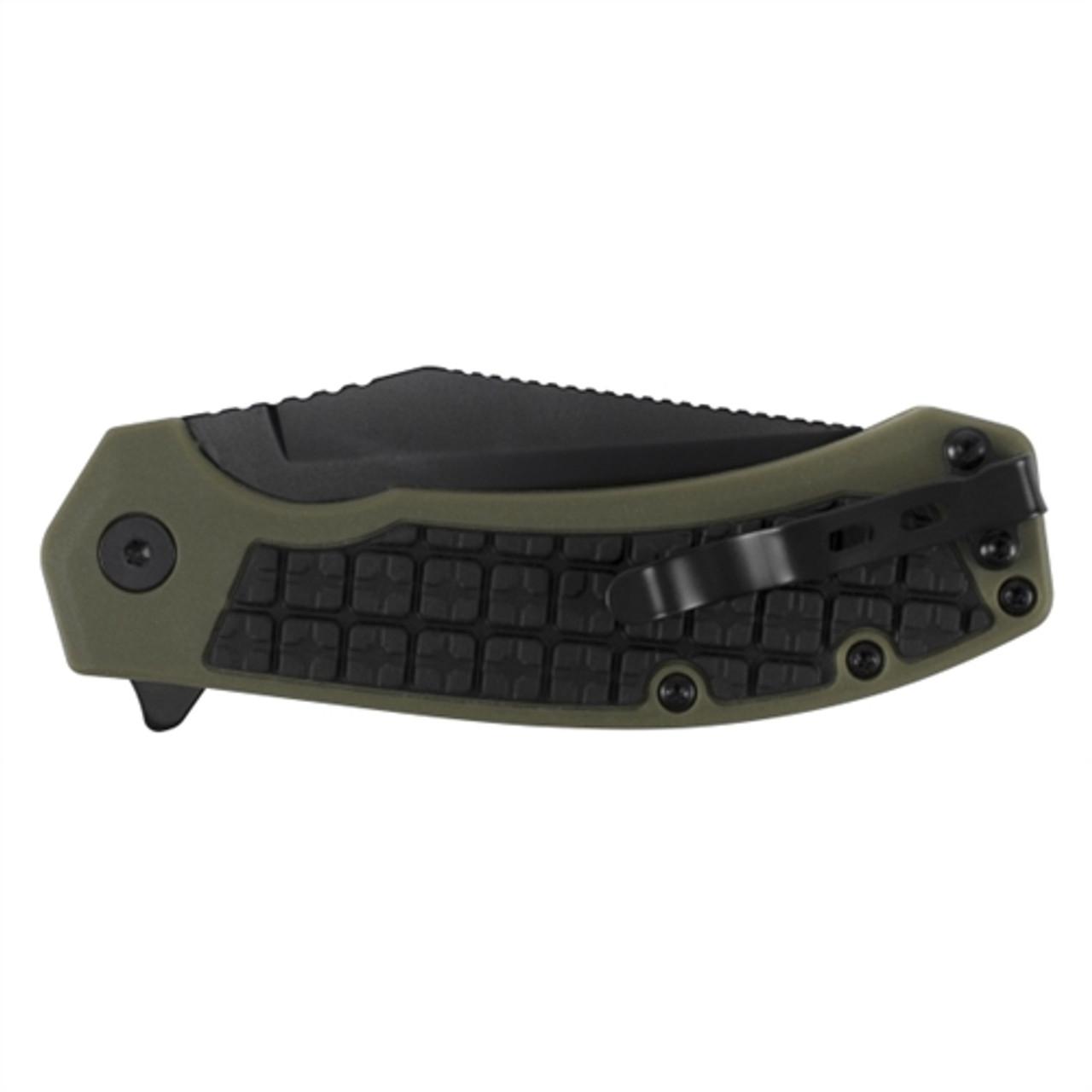 Kershaw 8760 OD Green/Black Faultline Flipper Knife, Black Blade