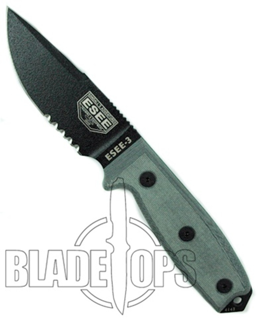 ESEE Knives Fixed Blade Knife, Clip Point Part Ser Black Blade, Linen Micarta Handle, ESEE-3S-CP