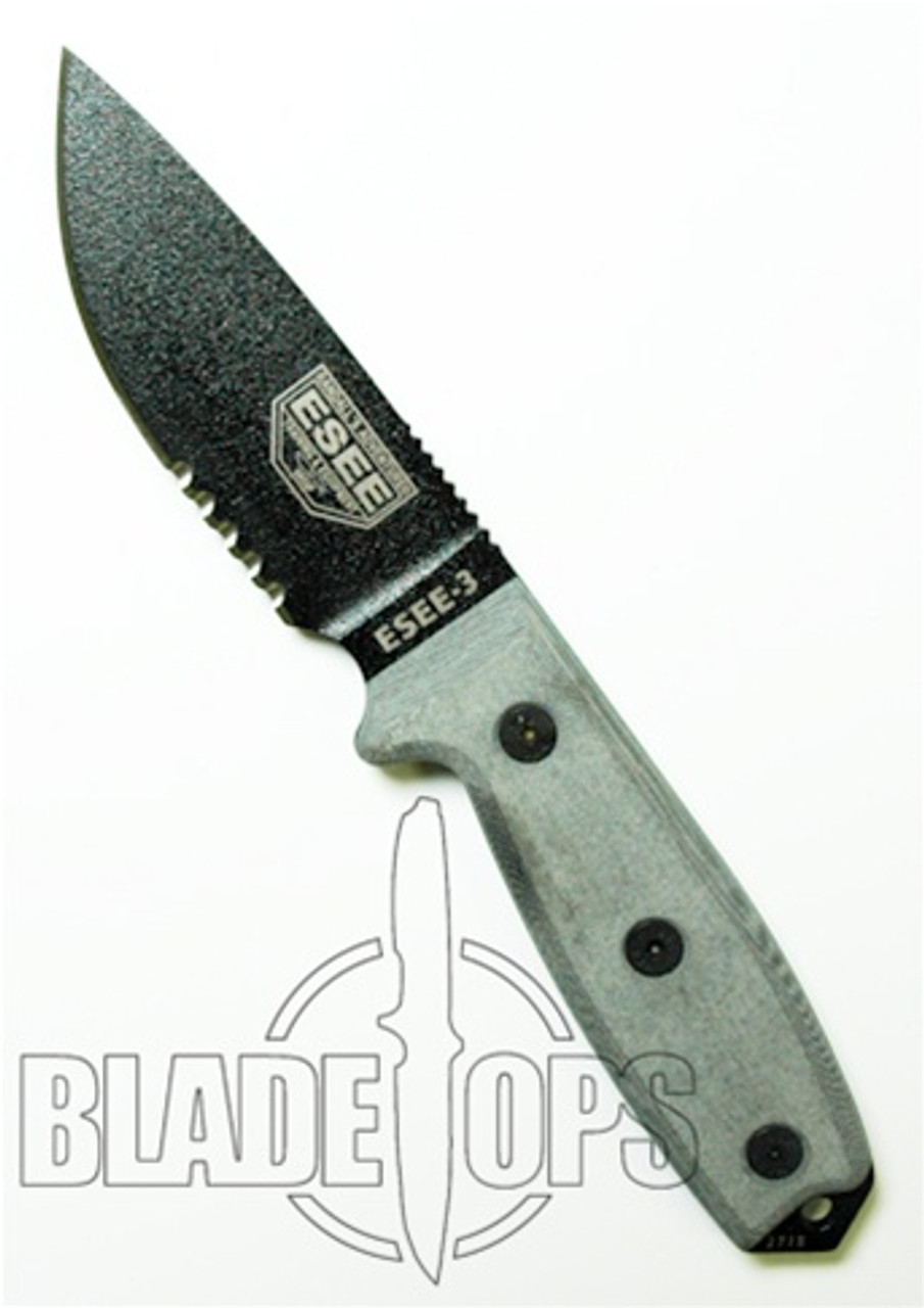 ESEE Knives RC3S Fixed Blade Knife, Black Blade, Part Serrated,  Linen Micarta Handle, ESEE-3S