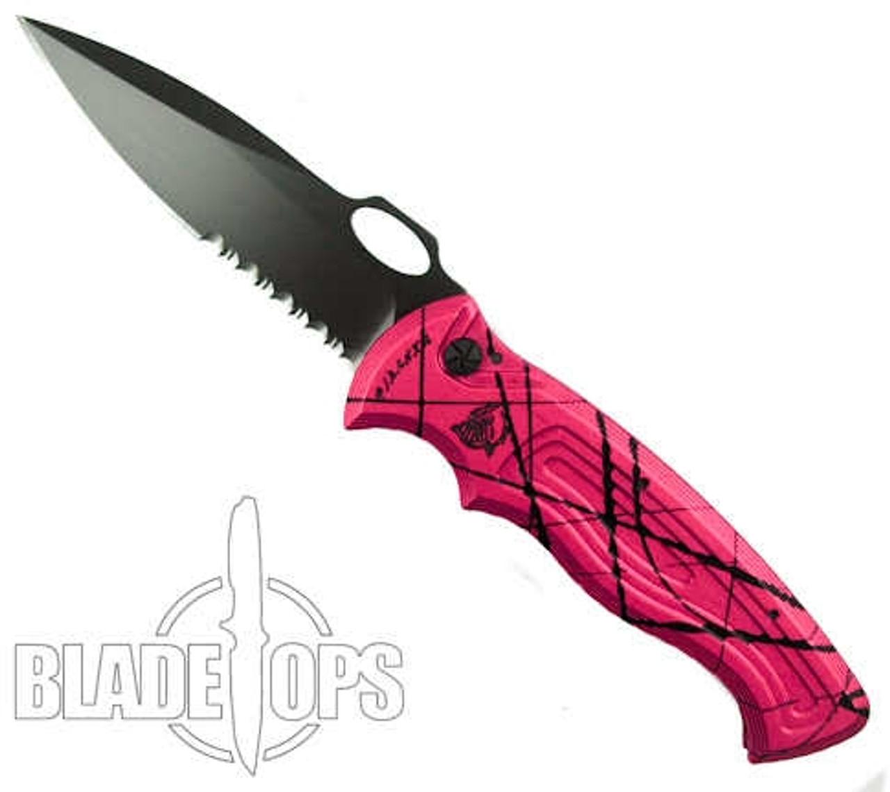 Piranha Pink Hybrid Auto Knife, 154CM Black Combo Blade