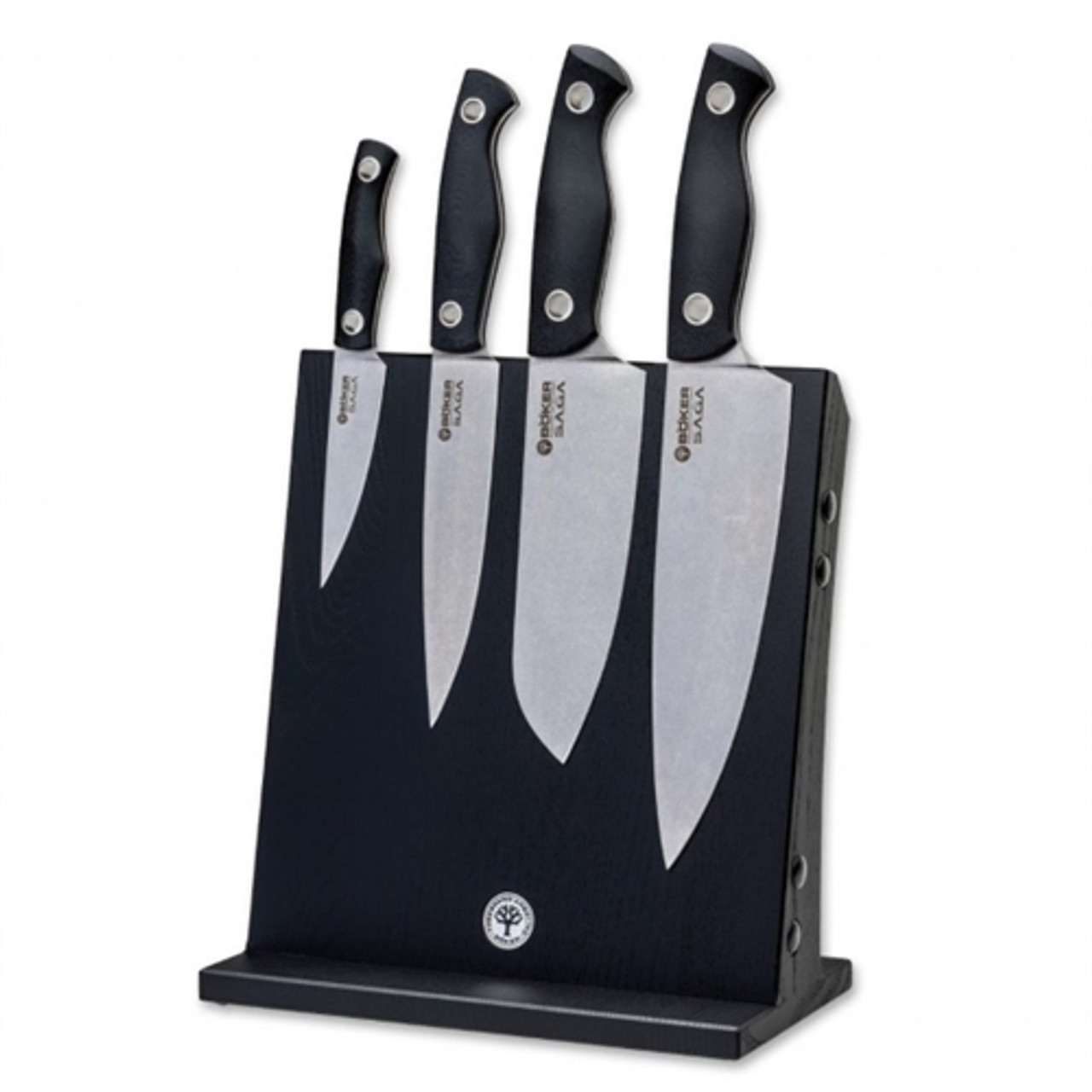 Boker 130267SET Saga 4-Piece Kitchen Knife Set, Display Block, Stonewash Blades