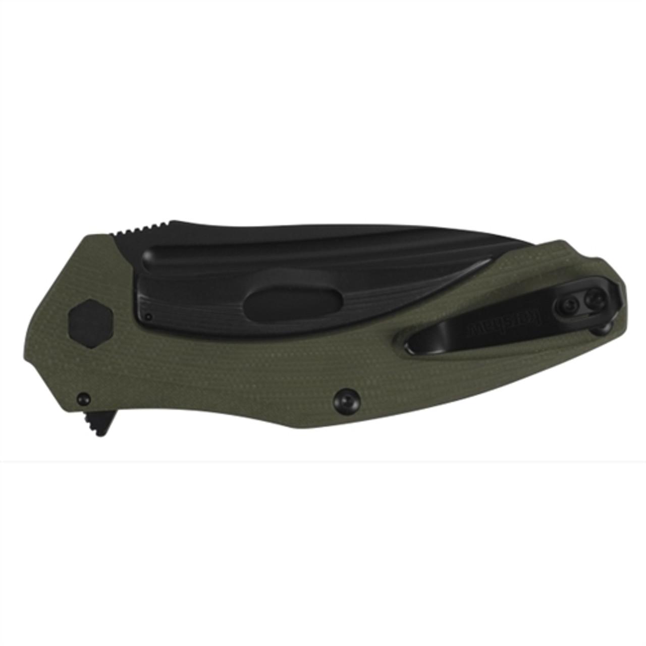 Kershaw 7008OLBLK OD Green Natrix XL Flipper Knife, Black Blade
