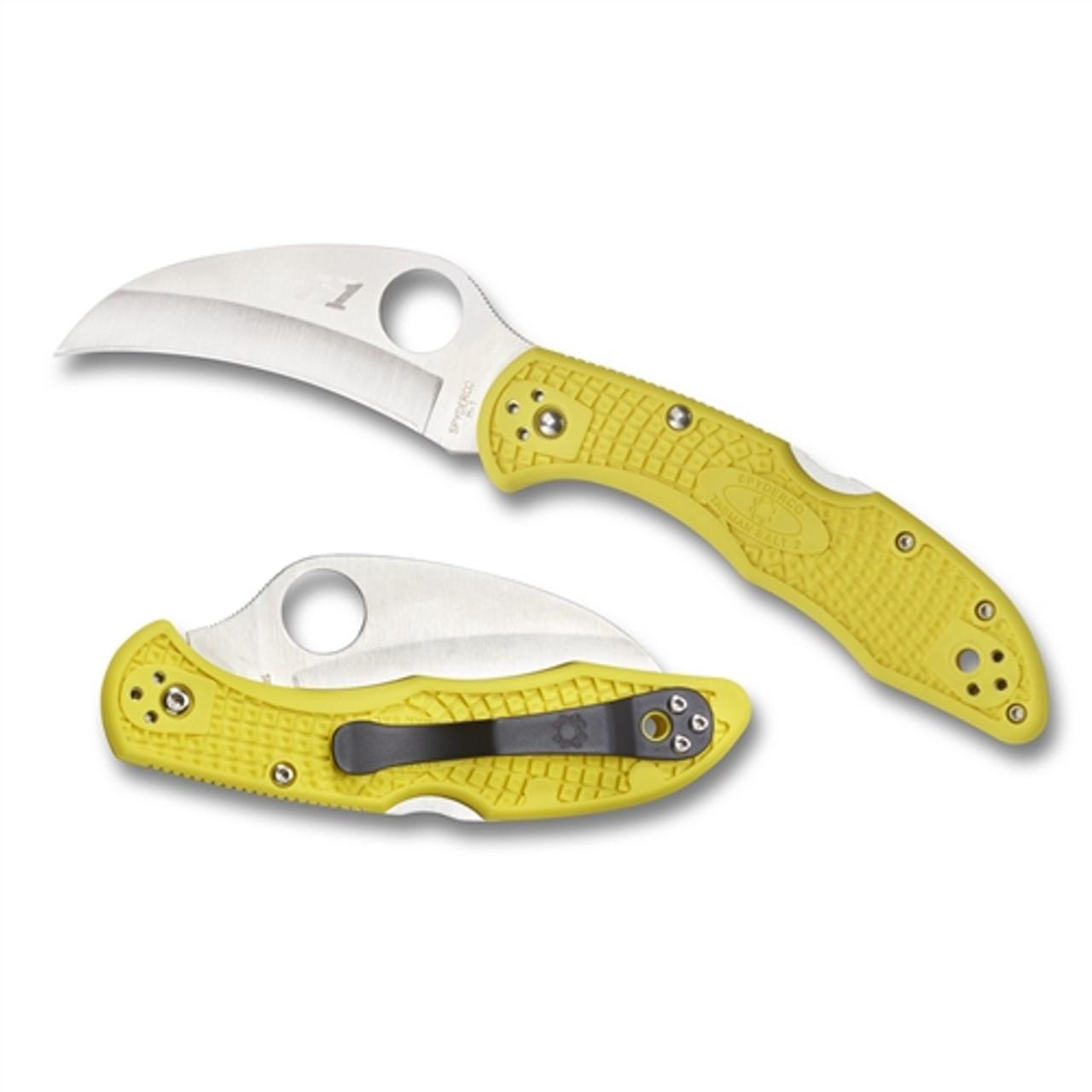 Spyderco C106PYL2 Yellow Tasman Salt 2 Hawkbill Folder Knife, H-1 Satin Blade