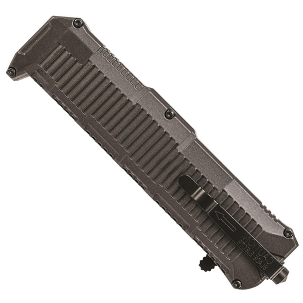 Schrade SCHOTF8TBS OTF Assist Knife, Black Tanto Point Combo Blade