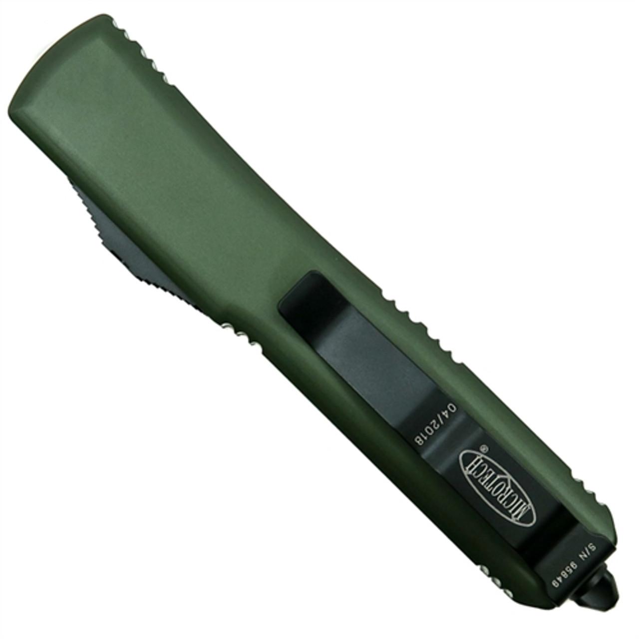 Microtech 122-1OD OD Green Contoured Ultratech D/E OTF Auto Knife, Black Blade