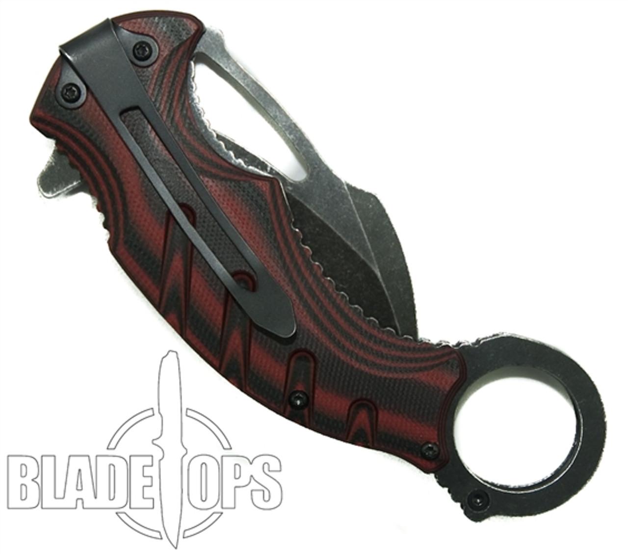 MTech Red Karambit Assist Knife, Black Combo Blade