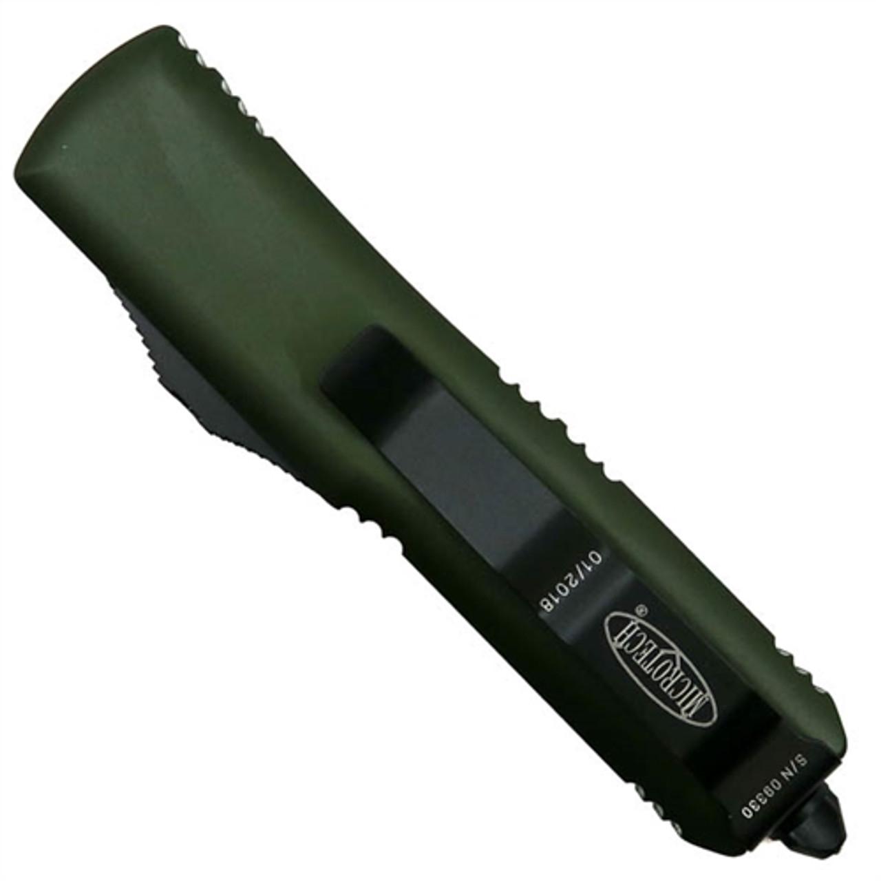 Microtech 233-1OD OD Green Contoured UTX-85 T/E OTF Auto Knife, Black Blade REAR VIEW