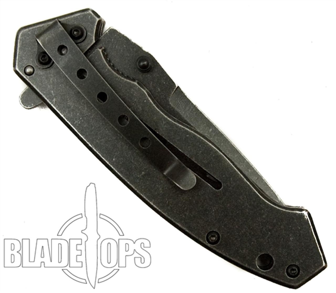 TacForce FrameLock Assist Knife, Black Stonewash Drop Point Blade