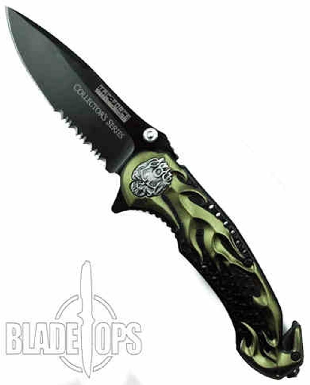 Green Skull Rider Spring Assist Knife, Tactical Combo Blade