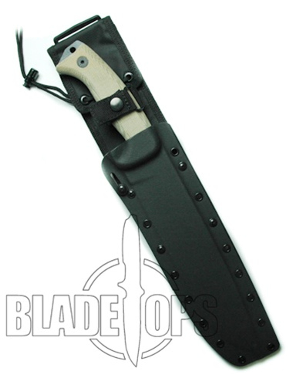 ESEE Knives Junglas® Survival Fixed Blade Knife with Kydex Sheath, Black Plain Blade