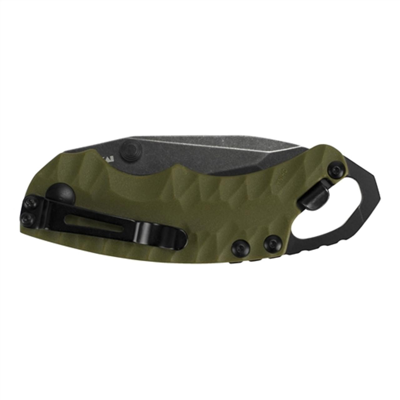 Kershaw 8750TOLBW Olive Shuffle II Tanto Folder Knife, BlackWash Blade REAR VIEW