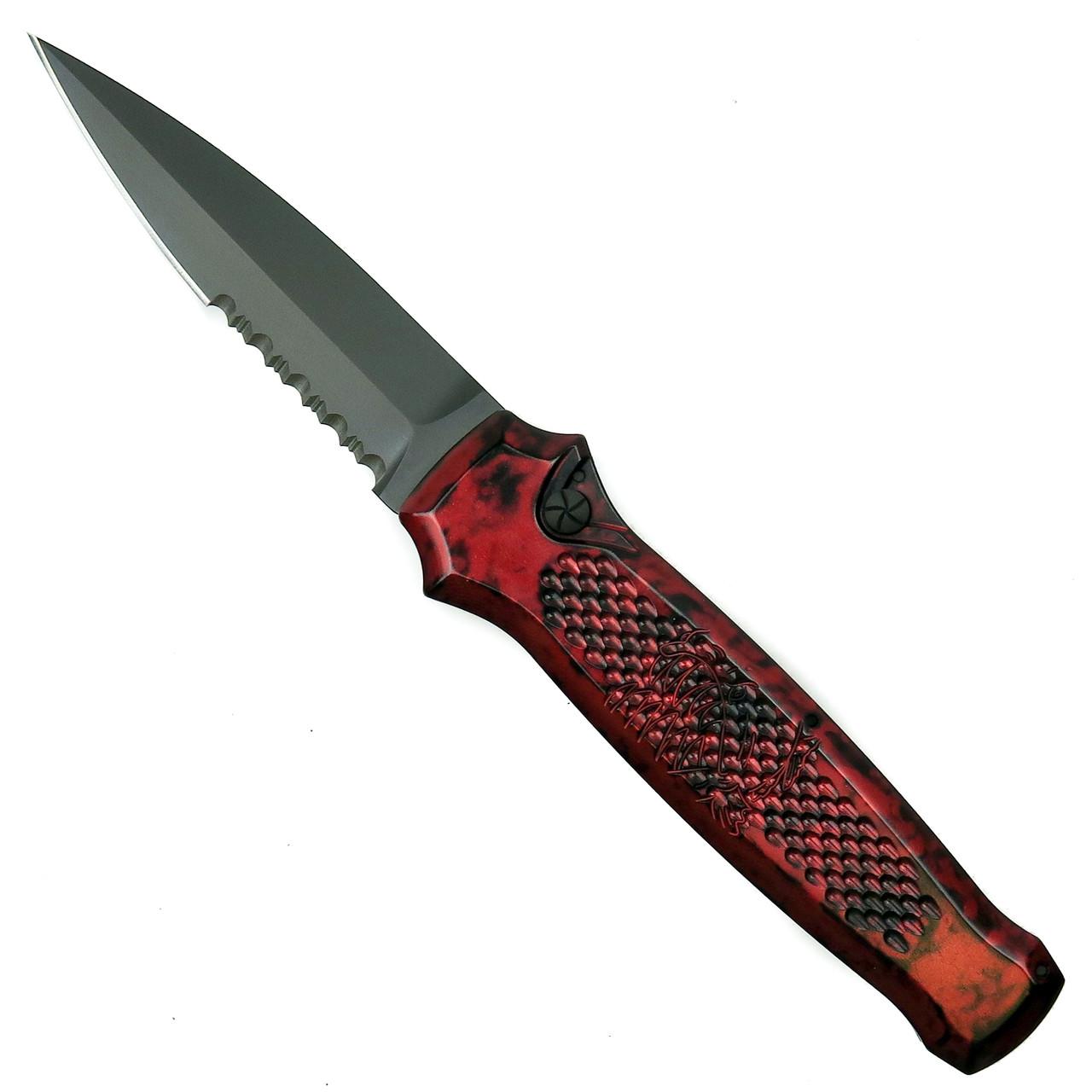 Piranha Red Prowler Auto Knife, 154CM Black Combo Blade