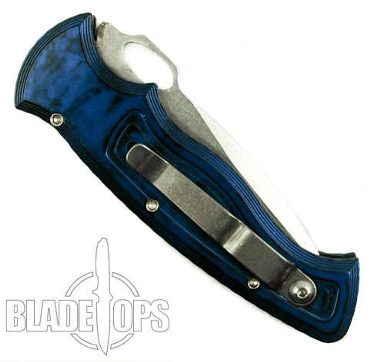 Piranha Blue Hybrid Auto Knife, 154CM Stonewash Combo Blade