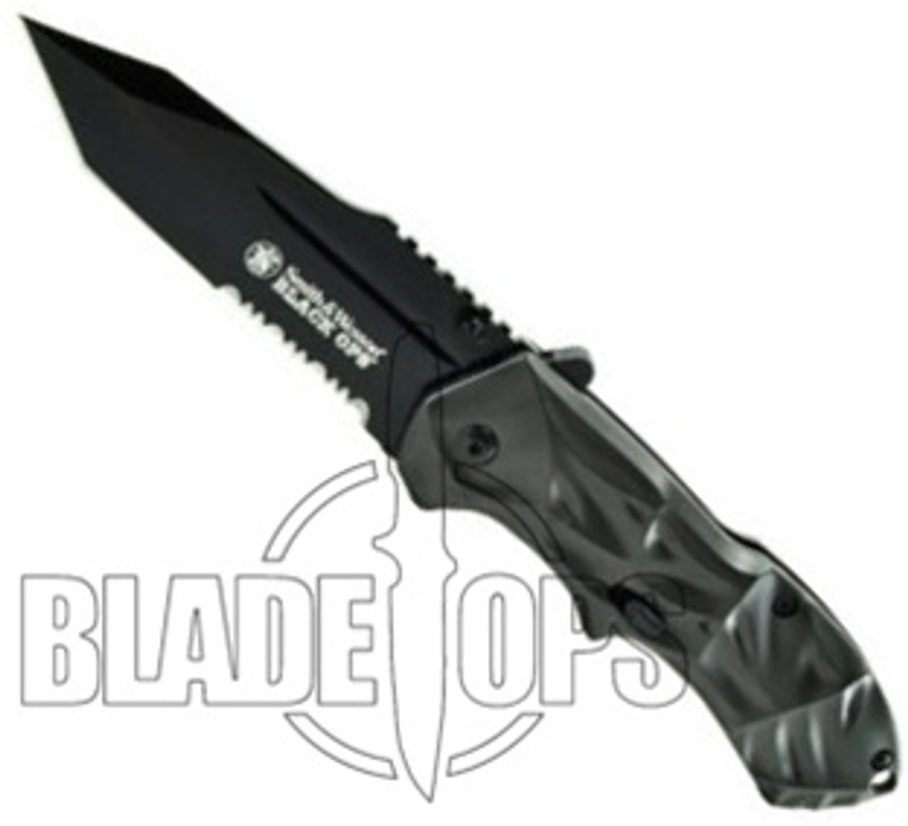 Smith & Wesson Black Ops Spring Assist Knife, Grey Handle, Tactical Black Tanto Point, P/S, SWBLOP3TS