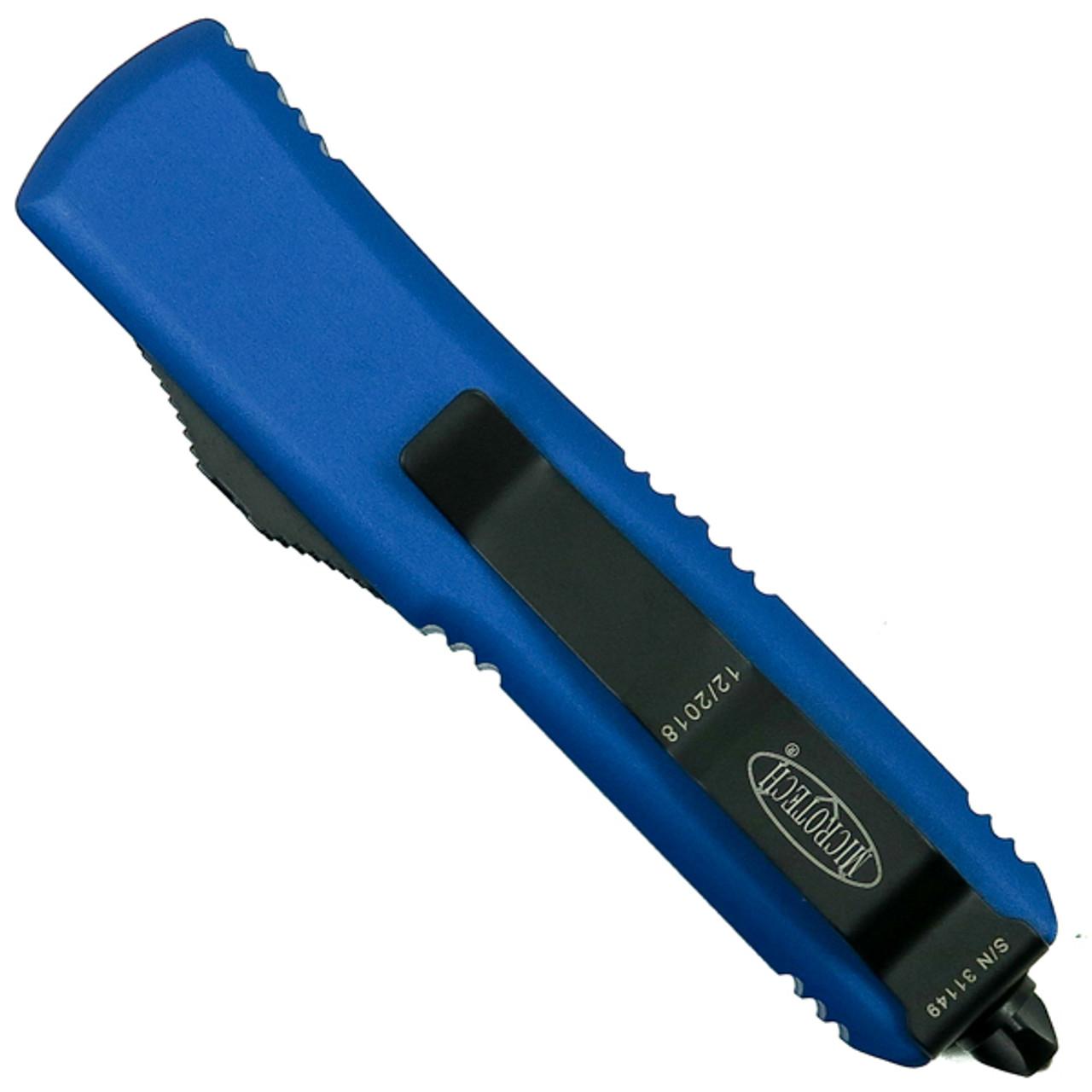 Microtech Blue UTX-85 Dagger OTF Auto Knife, Black Blade REAR VIEW