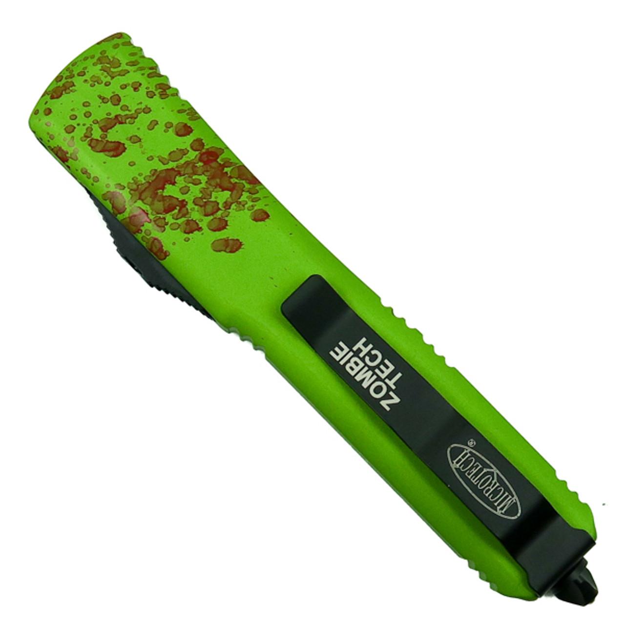 Microtech Zombie Ultratech Dagger OTF Auto Knife, Black Blade Back View